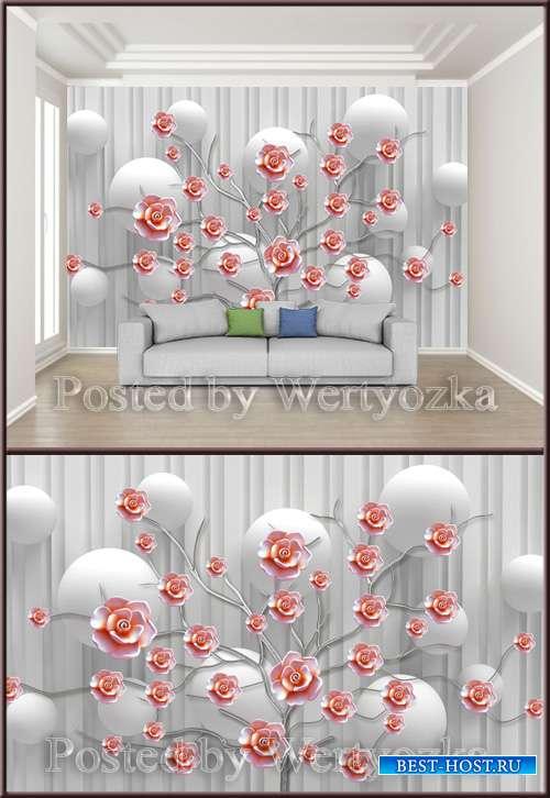 3D psd background wall flowering ceramic embossed flower