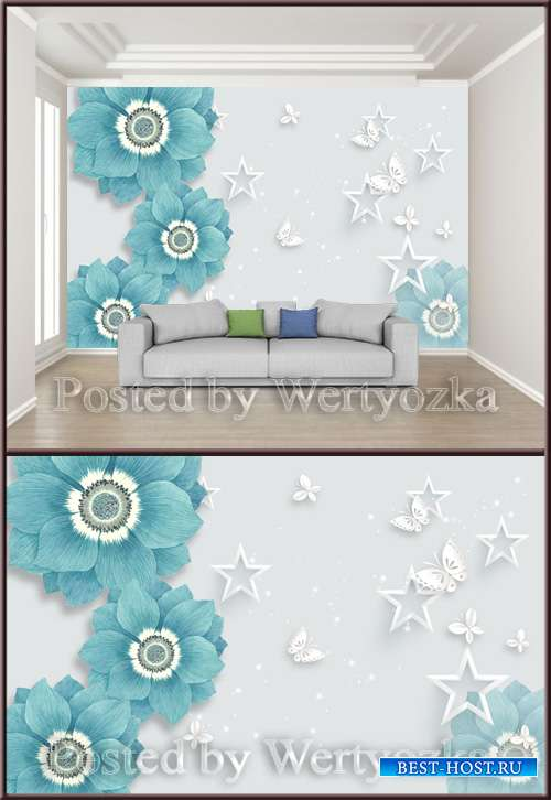 3D psd background wall butterfly star flower