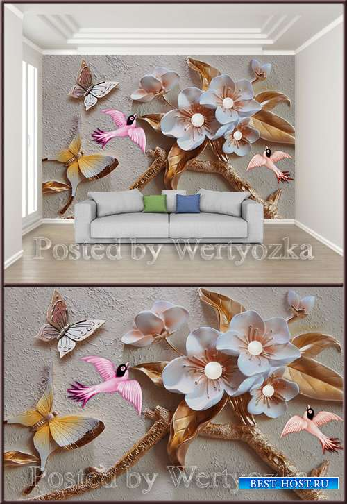 3D psd background wall floral butterfly bird