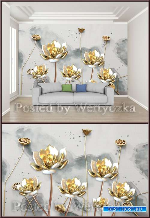 3D psd background wall golden lotus flower