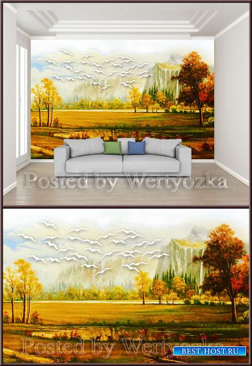 3D psd background wall landscape scenery oil painting