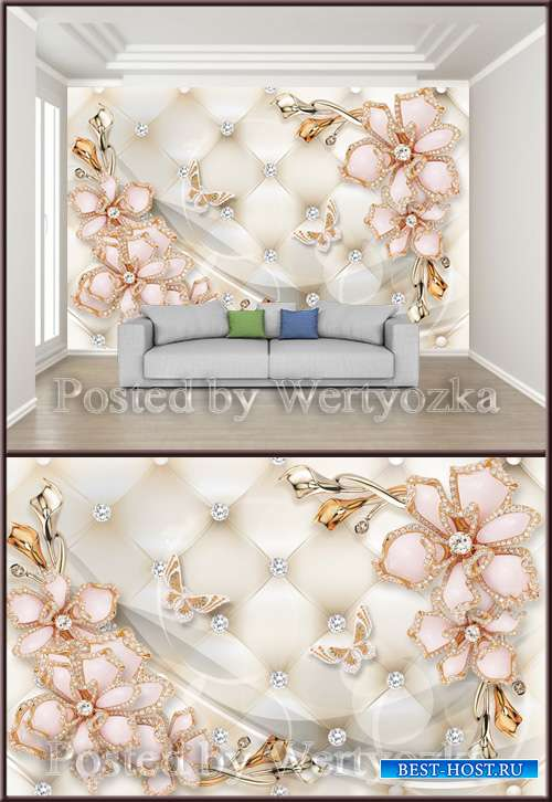 3D psd background wall diamond heart jewels_flower