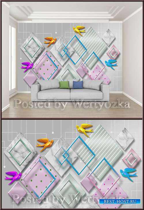 3D psd background wall geometric mosaic splicing bird