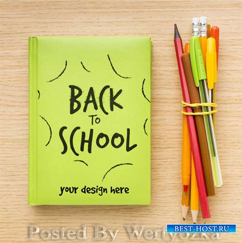 Top view back to school composition mock-up
