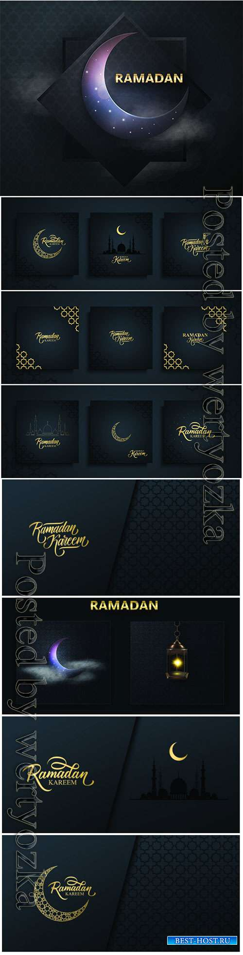 Ramadan Kareem vector background, Eid mubarak greeting card
