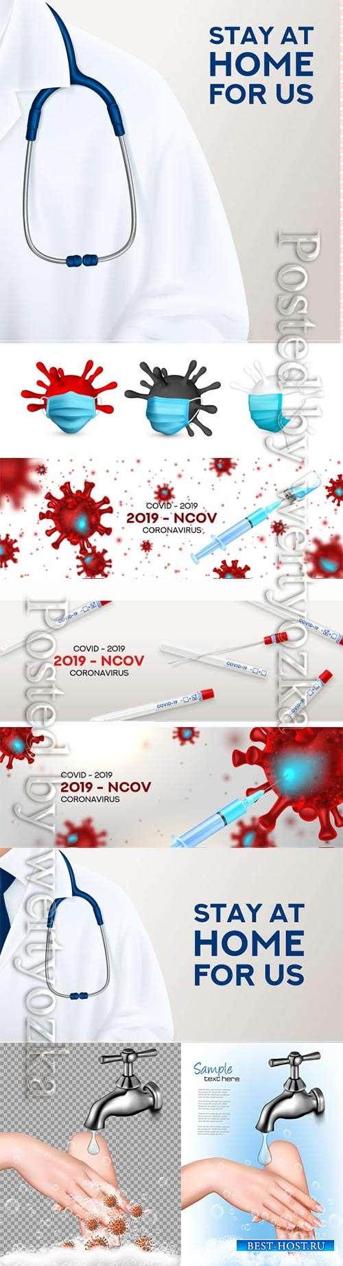 COVID 19, Coranavirus vector illustration sets # 6