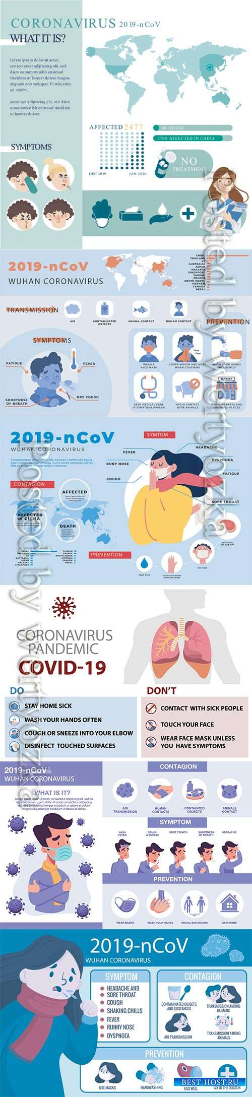 COVID 19, Coranavirus vector illustration sets # 8