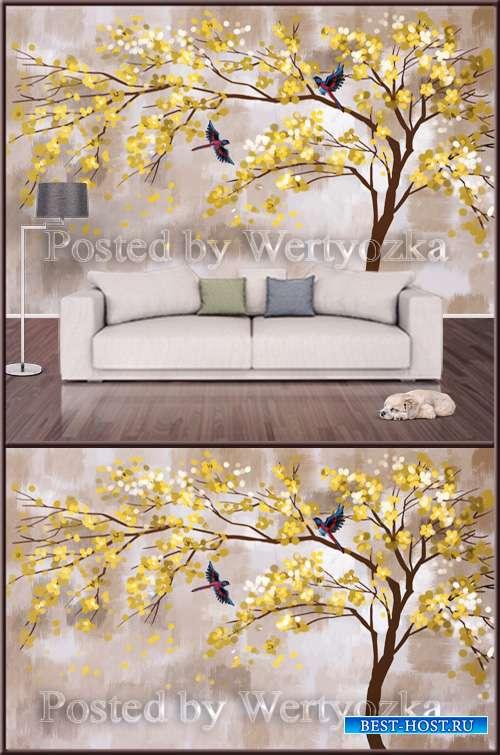 3D psd background wall yellow bird tree