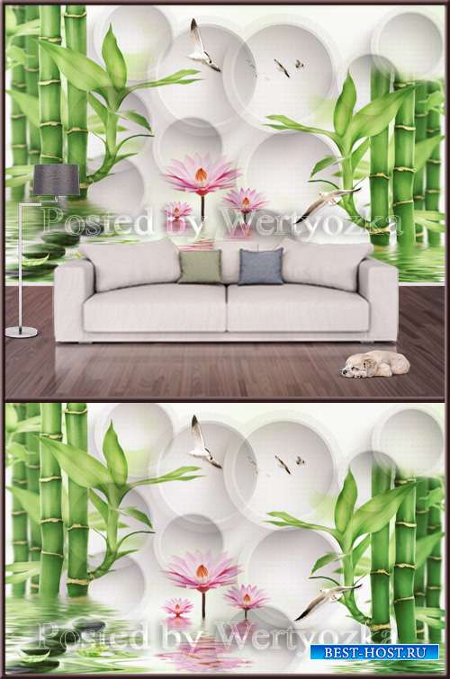 3D psd background wall lotus bamboo