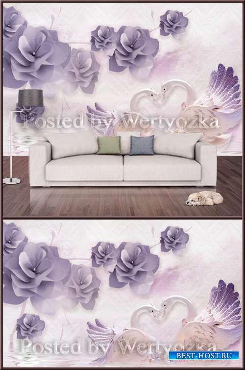 3D psd background wall elegant flowering swan