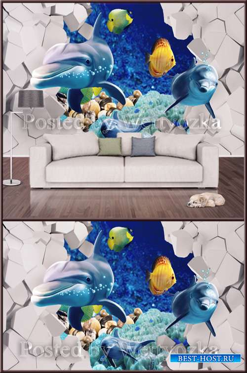3D psd background wall dolphins fish