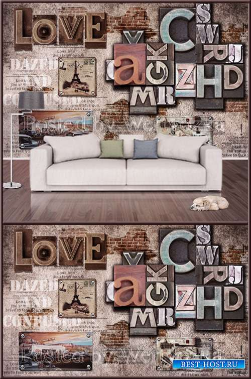 3D psd background wall alphabet casual cafe tooling