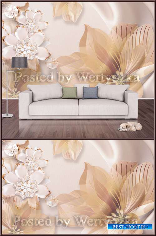 3D psd background wall big flowers