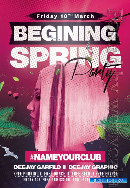 Begining spring party - Premium flyer psd template