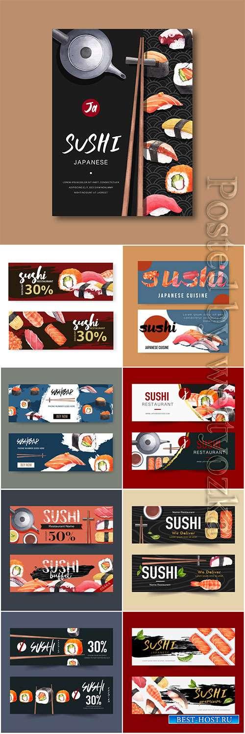 Sushi restaurant vector banner
