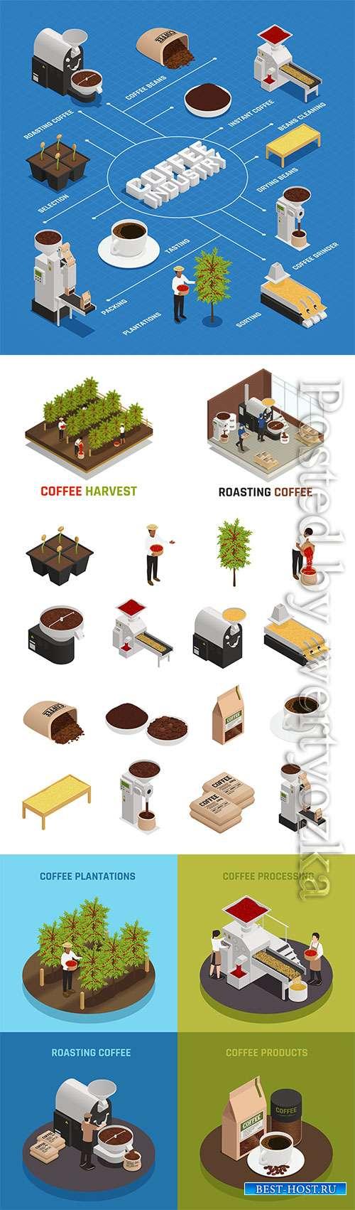 Isometric roasting coffee vector illustration template