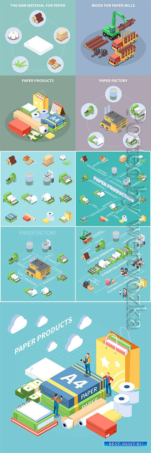 Paper production concept icons set with paper factory symbols isometric
