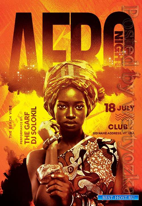 Afro night - Premium flyer psd template