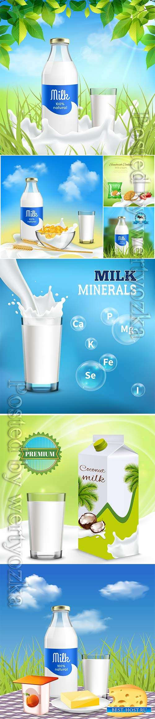 Milk ,bottle, glass, isometric, element, vector, collection