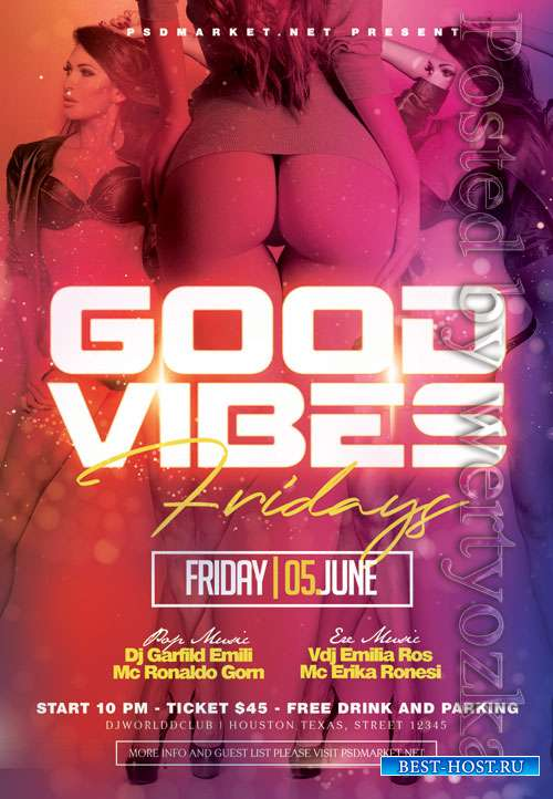 Good vibes fridays - Premium flyer psd template