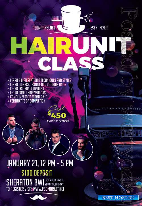 Hair unit class - Premium flyer psd template