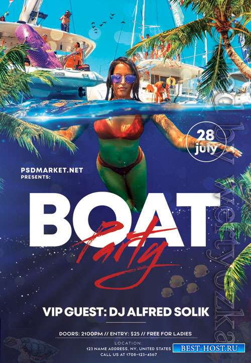 Boat party - Premium flyer psd template