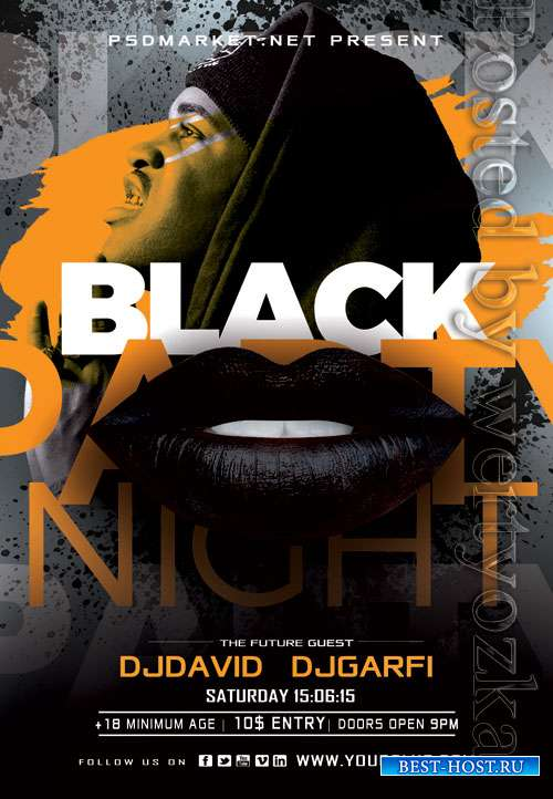 Black club night flyer - Premium flyer psd template