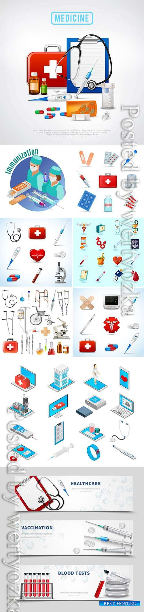Medicine isometric concept with medical equipment symbols vector illustrati ...