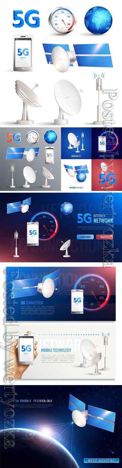Mobile technology vector icons, broadband internet connection of 5g standar ...