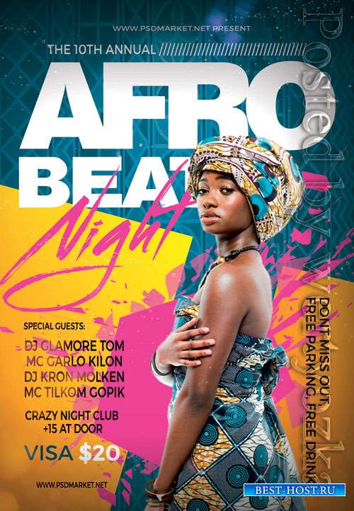Afro beat night - Premium flyer psd template