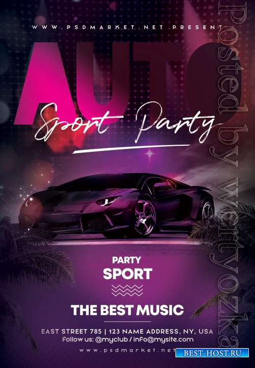 Auto sport party - Premium flyer psd template