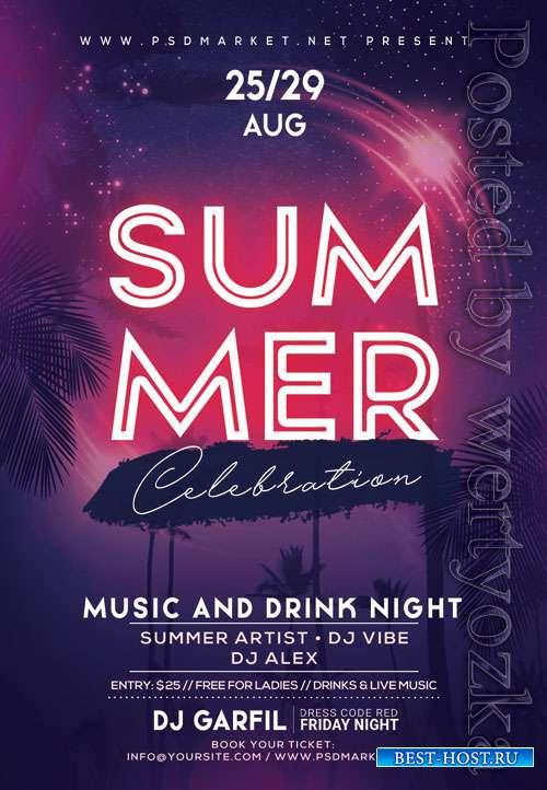 Summer celebration - Premium flyer psd template