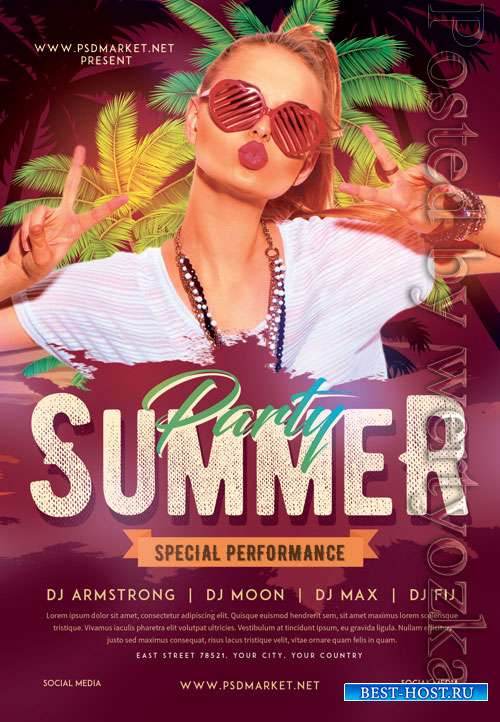 Summer party event - Premium flyer psd template