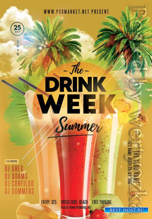 Drink week - Premium flyer psd template