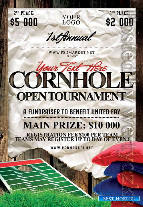 Cornhole tournament event - Premium flyer psd template