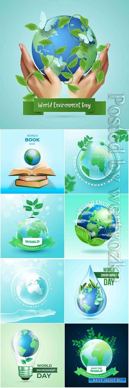 Realistic world environment day concept vector design