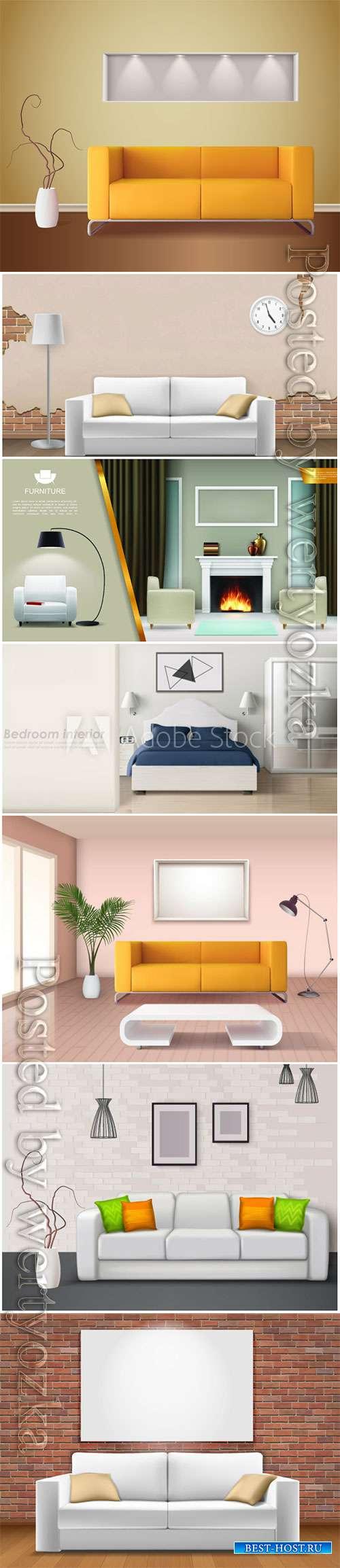 Modern interior in vector, sofas