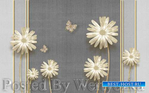 3D psd models modern elegant dandelion butterfly wrought iron-embossed soft ...