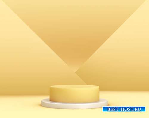3d geometric yellow podium for product placement with crossed planes