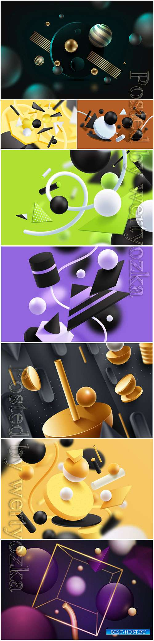 3D models template background with colorful shapes
