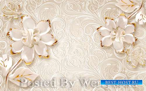 3D models pink solid jewel flower beautiful pattern background wall