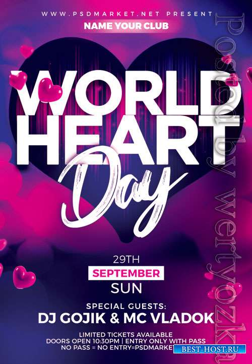World heart day - Premium flyer psd template