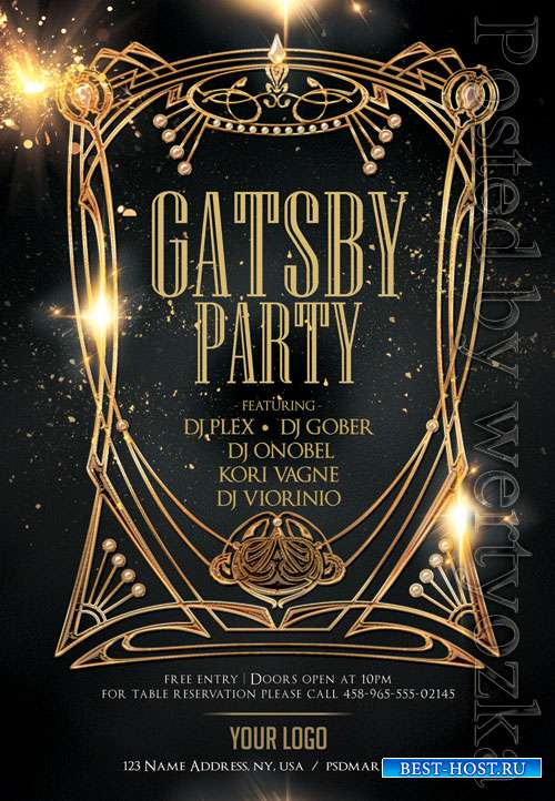 Gatsby party event - Premium flyer psd template