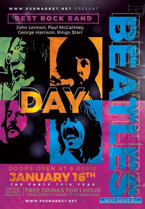 Beatles night - Premium flyer psd template