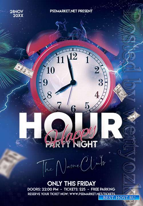 Happy hour party night - Premium flyer psd template