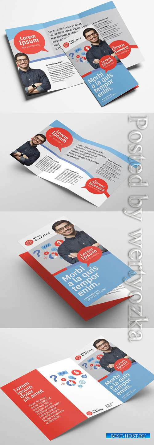 Modern Corporate Trifold Brochure Layout