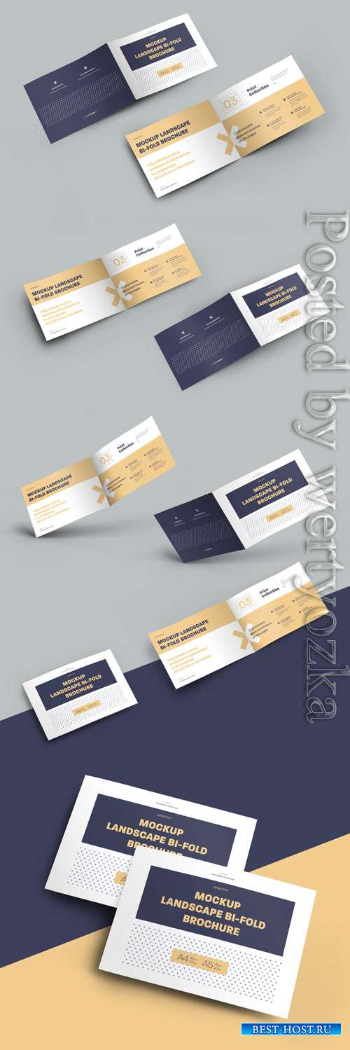 7 Mockup Set Landscape Bi-Fold Brochures
