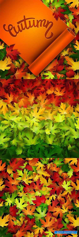 Осенние фоны с листьями - Векторный клипарт