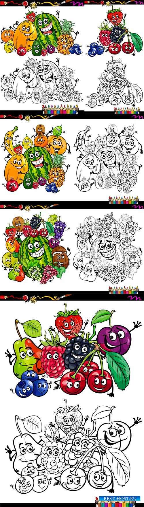 Фрукты и овощи. Раскраски для детей - Векторный клипарт