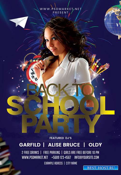 School back night - Premium flyer psd template